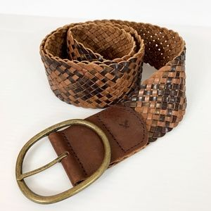 American Eagle Leather Belt Large XL Brown Braided